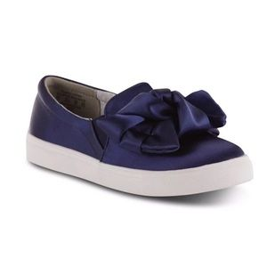 Metaphor Bow Top Midnight Blue Slip On Shoes